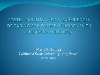 FOSTER PARENTS' VIEWS/EXPERIENCES  OF CARING FOR FOSTER CHILDREN WITH BEHAVIOR PROBLEMS