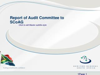 Report of Audit Committee to SCoAG