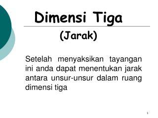 Dimensi Tiga (Jarak)