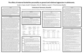 The effect of maternal borderline personality on general and relational aggression in adolescents.