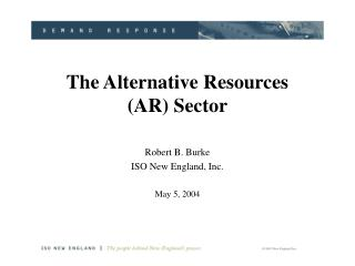 The Alternative Resources (AR) Sector