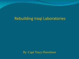 Rebuilding Iraqi Laboratories