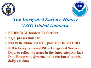 The Integrated Surface Hourly (ISH) Global Database