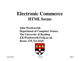 Electronic Commerce HTML forms