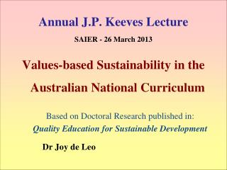 Annual J.P. Keeves Lecture SAIER - 26  March 2013