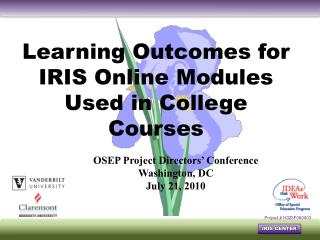 Learning Outcomes for IRIS Online Modules Used in College Courses