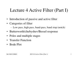 Lecture 4 Active Filter Part I