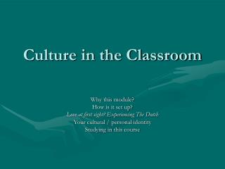 Culture in the Classroom