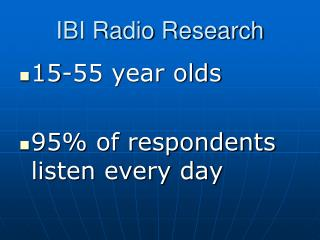 IBI Radio Research