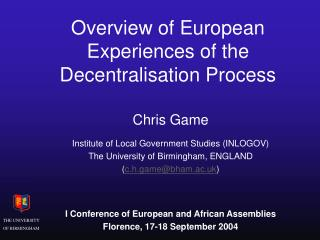 Overview of European Experiences of the Decentralisation Process