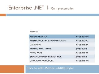 Enterprise .NET 1  CA - presentation