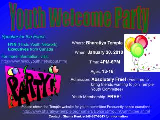 Youth Welcome Party