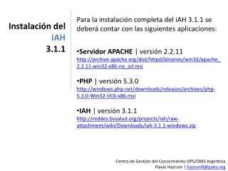Instalación del  iAH 3.1.1