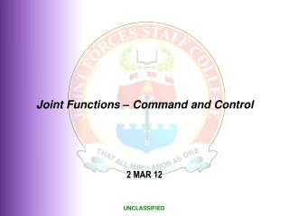 Joint Functions � Command and Control