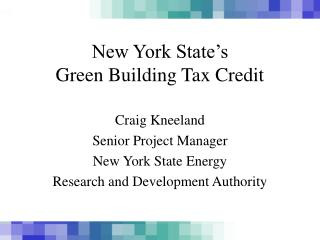 New York State's  Green Building Tax Credit