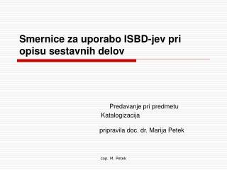 Smernice za uporabo ISBD-jev pri opisu sestavnih delov