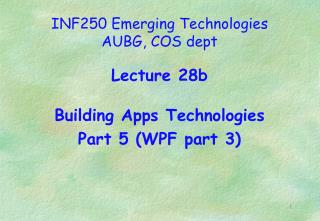 INF250 Emerging Technologies AUBG, COS dept