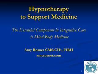Hypnotherapy  to Support Medicine