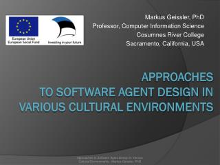 Approaches  to Software Agent Design in  Various Cultural Environments
