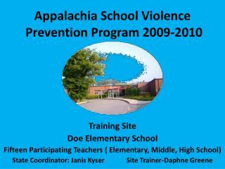 Appalachia School Violence  Prevention Program 2009-2010