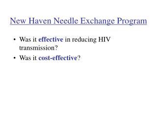 New Haven Needle Exchange Program