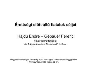 Érettségi előtt álló fiatalok céljai Hajdú Endre – Gebauer Ferenc Fővárosi Pedagógiai