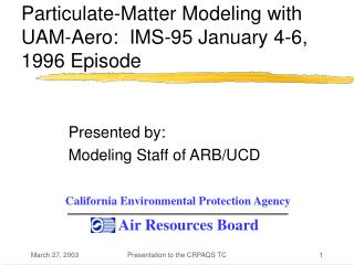 Particulate-Matter Modeling with UAM-Aero:  IMS-95 January 4-6, 1996 Episode