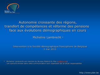 Intervention à la Société démographique francophone de Belgique 3 mai 2013