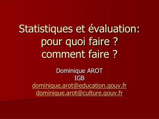 Statistiques et évaluation: pour quoi faire ? comment faire ?