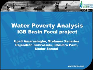 Water Poverty Analysis  IGB Basin Focal project