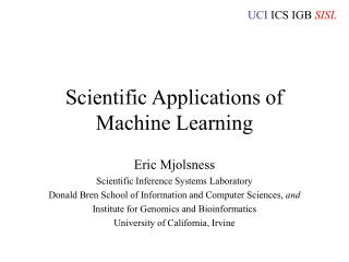 Scientific Applications of Machine Learning