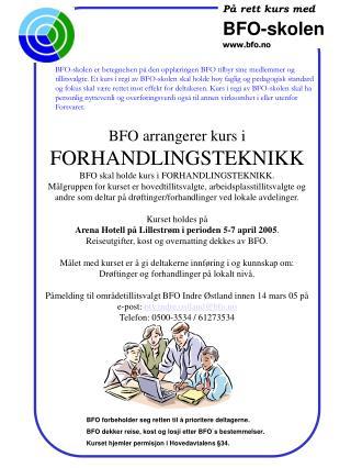 På rett kurs med BFO -skolen bfo.no