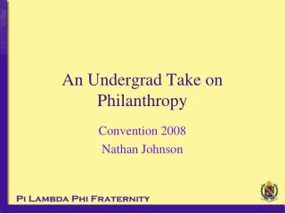 An Undergrad Take on Philanthropy
