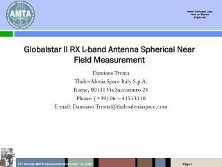 Globalstar II RX L-band Antenna Spherical Near Field Measurement