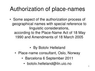Authorization of place-names