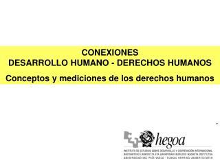 CONEXIONES  DESARROLLO HUMANO - DERECHOS HUMANOS  Conceptos y mediciones de los derechos humanos