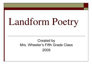 Landform Poetry