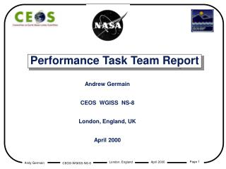 Performance Task Team Report