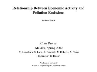 Relationship Between Economic Activity and Pollution Emissions Version 4 Feb 20