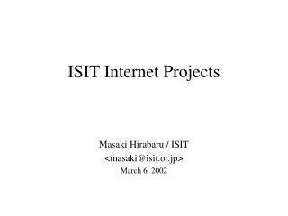 ISIT Internet Projects