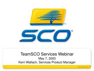 TeamSCO Services Webinar May 7, 2003 Kerri Wallach, Services Product Manager