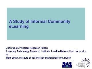 A Study of Informal Community eLearning