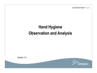 Hand Hygiene  Observation and Analysis