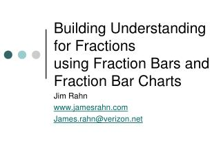 Building Understanding for Fractions using Fraction Bars and Fraction Bar Charts