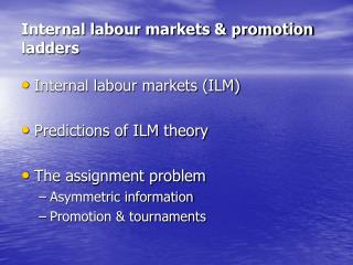 Internal labour markets & promotion ladders