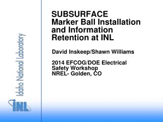 SUBSURFACE  Marker Ball Installation and Information Retention at INL