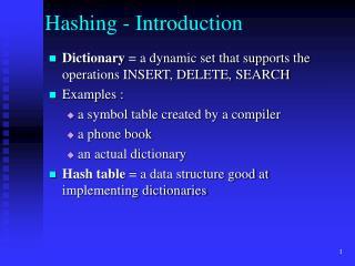 Hashing - Introduction