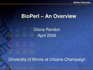BioPerl – An Overview