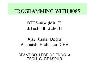 PROGRAMMING WITH 8085