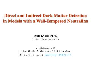 Direct and Indirect Dark Matter Detection  in Models with a Well-Tempered Neutralino